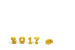 Isolato 2017 oggetti reali 3d su fondo bianco, concetto del buon anno Immagine Stock Libera da Diritti