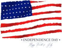 Isolato in quarto luogo della bandiera americana di festa dell'indipendenza di luglio royalty illustrazione gratis