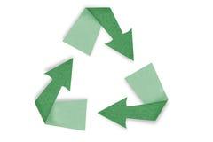 Isolato riciclato del segno del bastone del mestiere di carta su bianco Immagini Stock Libere da Diritti