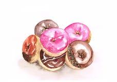 Isolato stabilito della ciambella dell'acquerello su fondo bianco, caramello, rosa Fotografia Stock Libera da Diritti