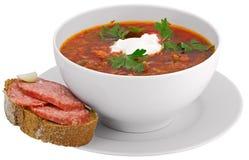 Isolato su borscht bianco Fotografia Stock Libera da Diritti
