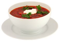 Isolato su borscht bianco Immagine Stock