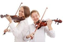 Duetto del violino Fotografie Stock
