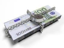 Isolato su una serratura chiusa del fondo dei dollari bianchi del pacchetto, il concetto dei fondi sicuri di stoccaggio, 3d rende Fotografia Stock Libera da Diritti