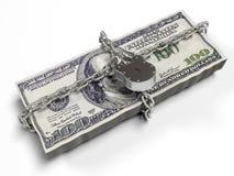Isolato su una serratura chiusa del fondo dei dollari bianchi del pacchetto, il concetto dei fondi sicuri di stoccaggio, 3d rende Fotografie Stock Libere da Diritti