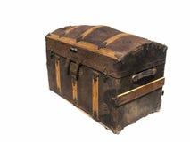 Isolato sul vecchio forziere di legno bianco Fotografia Stock Libera da Diritti