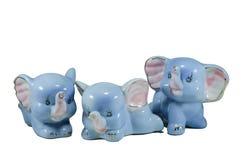 Isolato tre elefanti blu della porcellana Immagini Stock Libere da Diritti