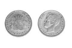 Isolato una moneta d'argento della peseta di 1900 immagini stock