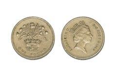 Isolato una moneta di libbra immagine stock