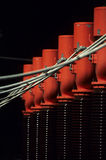 Isolators. Electrical power isolators in Mayrhofen with electric leads stock images