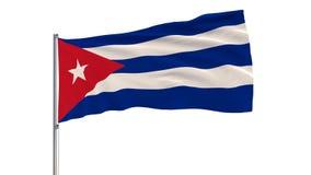 Isole a bandeira de Cuba em um mastro de bandeira que vibra no vento em um fundo branco, rendição 3d Fotografia de Stock