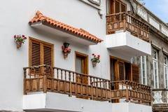 Isole Canarie della Spagna del vecchio balcone storico fotografia stock