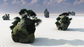 Isole della roccia di fantasia di zen Fotografia Stock