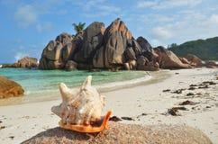 Isole delle Seychelles, La Digue, grande spiaggia di Anse Fotografie Stock