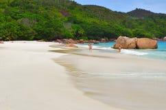 Isole delle Seychelles, Praslin, Anse Lazio Fotografia Stock