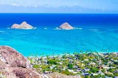 Isole di Mokulua, Oahu Fotografie Stock