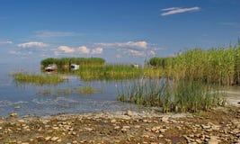 Isole e barche di Reed sul lago Peipsi, Estonia immagini stock libere da diritti