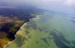 Isole indonesiane, vista dell'aeroplano Immagini Stock
