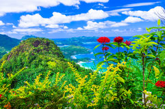 Isole tropicali esotiche delle Seychelles di paradiso fotografie stock
