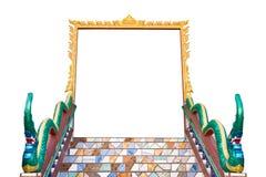 Isoleer deurframe van Thaise tempel. Royalty-vrije Stock Afbeeldingen