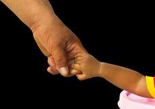 Isoleer hand houdend volwassen kinderen Stock Foto