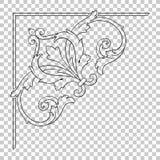 Isoleer hoekornament in barokke stijl stock illustratie