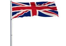Isoleer vlag van het Verenigd Koninkrijk op vlaggestok die in wind fladderen vector illustratie