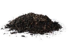 Isoleer zwarte droge grond Stock Foto