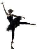 Isoleerde de dansende vrouw van de ballerinadanser silhouet Stock Foto's