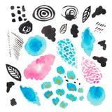 Isoleerde de waterverf abstracte illustratie van decoratieve vlekken op wit achtergrond Moderne textuur roze blauwe zwarte smudge stock illustratie