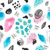 Isoleerde de waterverf abstracte illustratie van decoratieve vlekken op wit roze purpere blauw van de achtergrond het naadloze pa royalty-vrije illustratie