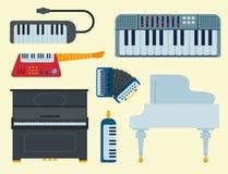 Isoleerden de toetsenbord muzikale vectorinstrumenten klassiek akoestisch glanzend de musicusmateriaal en orkest van de melodiest royalty-vrije illustratie
