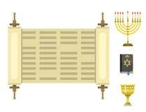Isoleerden de traditionele symbolen van de judaïsmekerk hanukkah de godsdienstige vectorillustratie van synagoge passover Hebreeu Stock Afbeelding