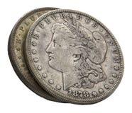 1878 isoleerden de zilveren dollars van Morgan wit Stock Afbeelding