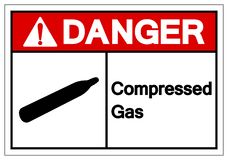 Isoleert het gevaar Samengeperste Teken van het Gassymbool, Vectorillustratie, op Wit Etiket Als achtergrond EPS10 royalty-vrije illustratie
