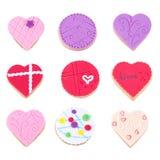 Isoleert koekjes voor de Dag van Valentijnskaarten Stock Fotografie