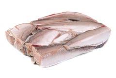 Isolement gelé de merluches de poissons sur le blanc Photographie stock libre de droits