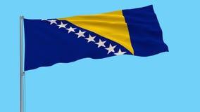Isolera flaggan av Bosnien och Hercegovina på en flaggstång som fladdrar i vinden på en vit bakgrund, tolkningen 3d
