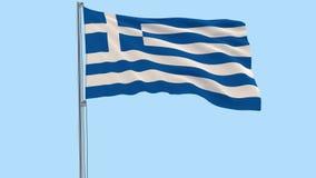 Isolera flaggan av Grekland på en flaggstång som fladdrar i vinden på en genomskinlig bakgrund, 3d tolkningen, PNG-format med alf