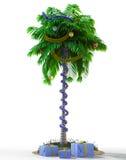 Isolera palmträdet för det nya året med garneringbegreppsferie Arkivbilder