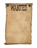 Isolerad önskad affisch. Lös västra bakgrund. royaltyfria bilder