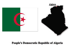 Isolerad översikt av Algeriet på engelska Royaltyfri Fotografi