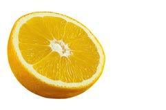 Isolerad övre sikt för slut av orange frukt Arkivbilder