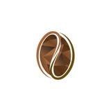 Isolerad abstrakt brun logo för färgkaffeböna Driftig drinklogotyp Naturligt kärna ur symbolen Vektorkakaoillustration stock illustrationer