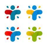 Isolerad abstrakt färgrik arg logouppsättning Mänsklig konturlogotypsamling för svart ändringssymbolslever medicinsk för skydd wh Royaltyfri Foto