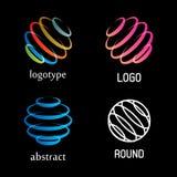Isolerad abstrakt färgrik för vektorlogo för rund form uppsättning Ringer beståndsdellogotypsamlingen Roterande spiralsymboler Royaltyfria Bilder