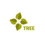 Isolerad abstrakt grön färg lämnar logo Trädbeståndsdellogotyp naturlig symbol Ovanligt spining propellertecken Royaltyfri Fotografi