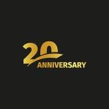 Isolerad abstrakt guld- 20th årsdaglogo på svart bakgrund logotyp för 20 nummer Tjugo år jubileumberöm Arkivfoto
