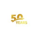 Isolerad abstrakt guld- 50th årsdaglogo på vit bakgrund logotyp för 50 nummer Femtio år jubileumberöm Arkivbild