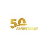 Isolerad abstrakt guld- 50th årsdaglogo på vit bakgrund logotyp för 50 nummer Femtio år jubileumberöm Fotografering för Bildbyråer